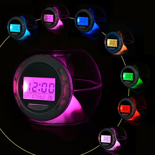 """Alarm Clock, KSACLE Wake Up Light Clock for Kids Child Toddler Adults, Digital Sleep Night Light with Temperature Display & Nature Sound - 7 Colors Changing - Description: [Normal Time Set] -Press the """"Mode"""" to change to the normal time mode condition. ( Press the """"Mode"""", you can change the mode between Normal time and Alarm time) At normal time mode, press SET key to enter into time and date setting and press UP and DOWN key to finish this setting, a:..."""