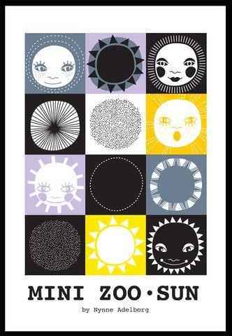 Mini Zoo Sun Plakat, A3 – Mini Zoo by Nynne Adelborg