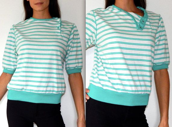 vintage nautical shirt 80s top batwing t shirt striped shirt sailor princess sleeve aquamarine blue white cute top early 80s shirt size M