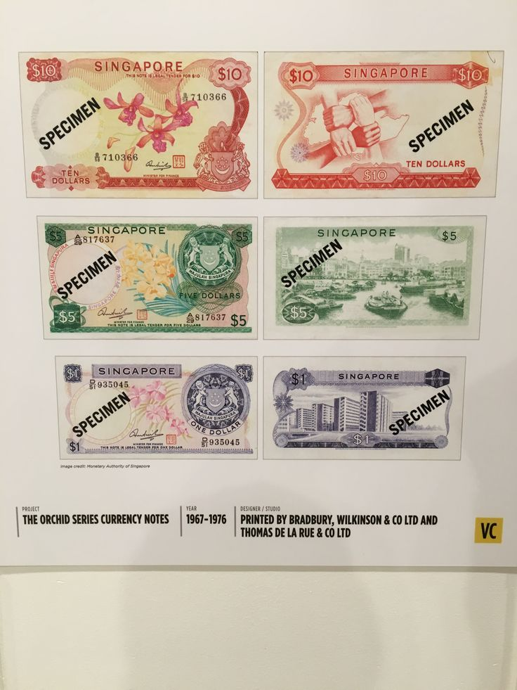 The orchid series currency was issued on 12 June 1967. The $10 bill (first row), has the national flower of Singapore, the orchid on the front, and 4 clasped hands with a map of Singapore at the back. This signifies the racial diversity and harmony of Singapore, and how people of different ethnicities co-exist together in harmony.  The $5 bill, has the national flower on the front, and a view of the busy Singapore River on the back. The Singapore River is a unique icon, and was the centre of…