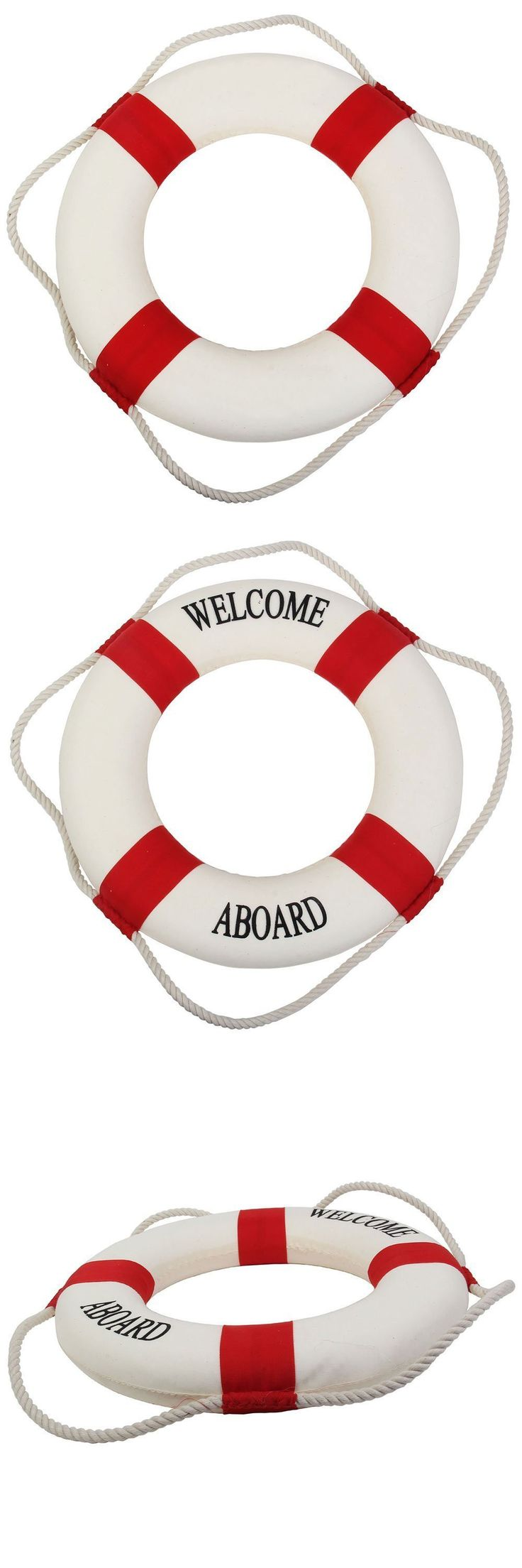 WSFS Hot Decorative Welcome Aboard Nautical Lifebuoy Ring Wall Hanging Home Decoration (Red, 25cm) $2.72