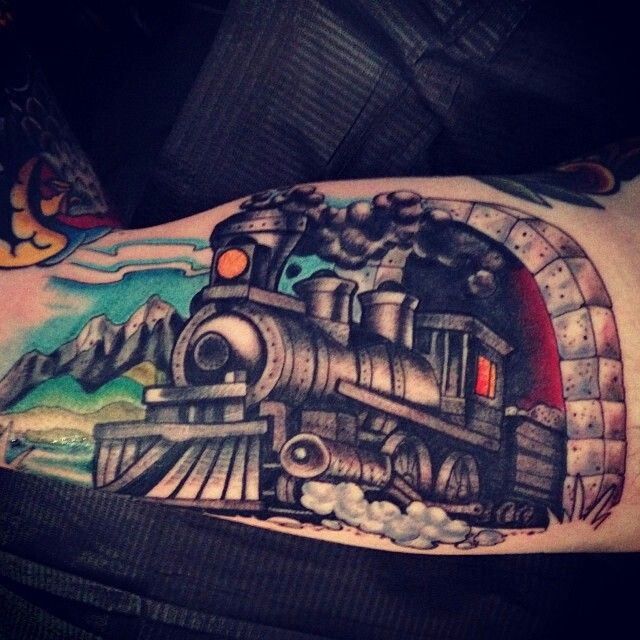 Train tattoo by Kyle Walker - Guru Tattoo - San Diego, CA.