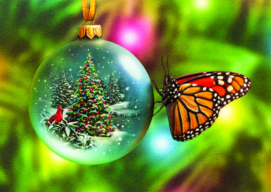 WHITE CHRISTMAS DREAMS  Dreams of a white Christmas are beautifully captured in the stunning illustration by Alan Giana featured on the front of this holiday card. A monarch butterfly rests peacefully on the side of an ornament painted with a mesmerizing winter scene. - See more at: http://greetingcardcollection.com/products/holiday-cards-ornaments/1494-white-christmas-dreams