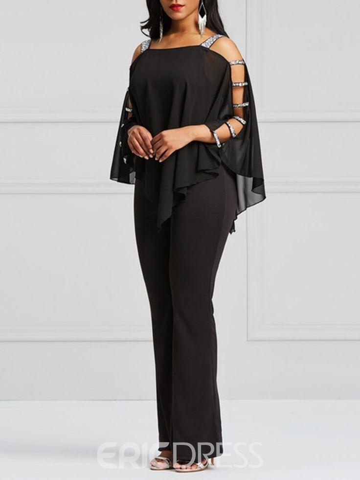 Ericdress Asymmetric Cold Shoulder Batwing Sleeve Women's Jumpsuit 13382173 - Er... 1