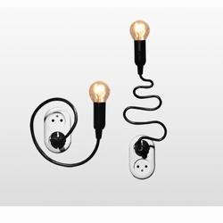 Lamp 'wattje' van Stallinga. Buigbaar snoer en meteen in stopcontact te steken.