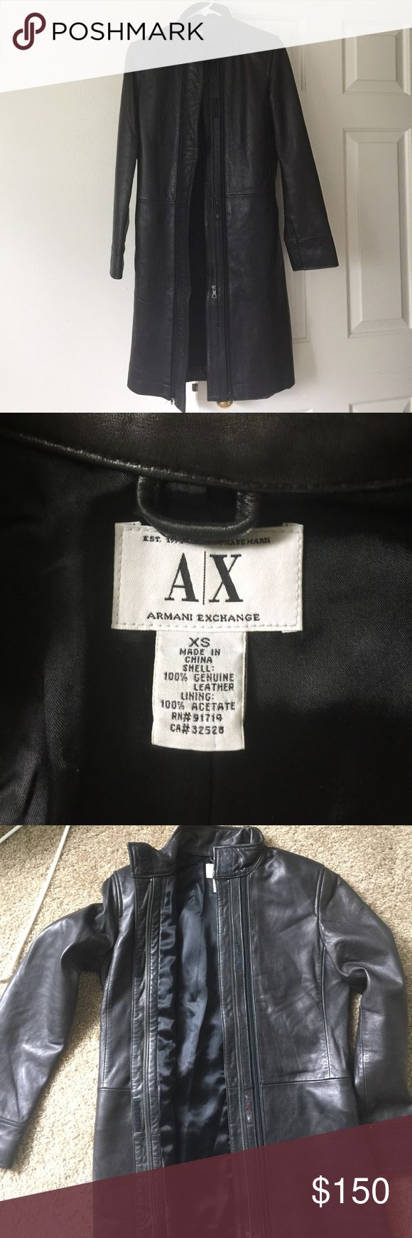 Armani exchange women leather coat Good condition. There is a tiny white spot on the left sleeve. I believe you could clean it off. Knee length. My height is 5'3. Armani Exchange Jackets & Coats