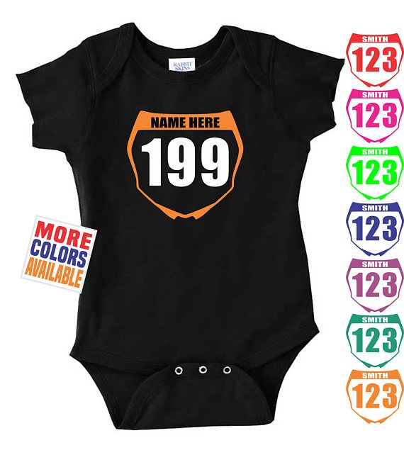 CUSTOM NUMBER PLATE Onesie Baby One Piece Bodysuit Shirt