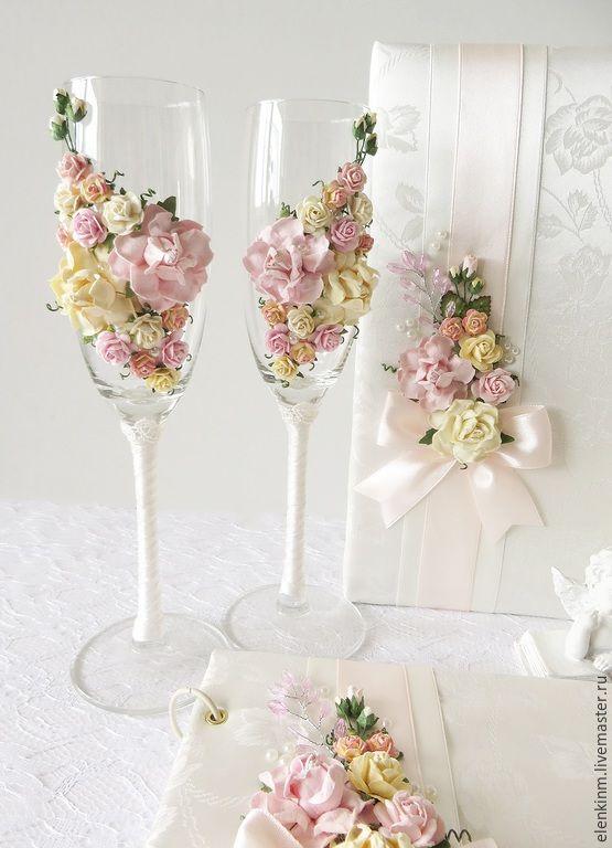 """Купить Свадебные бокалы """"Айвори с нежно-розовым"""" - кремовый, свадьба, свадебные аксессуары, свадебный набор"""