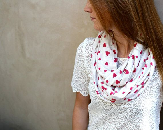Heart Scarf, Infinity Scarf, Eternity Scarf, Jersey Cotton, Hot Pink Hearts