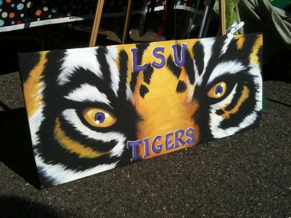 Hey, I found this really awesome Etsy listing at https://www.etsy.com/listing/117515779/lsu-tiger-eyes-painting-on-custom-made
