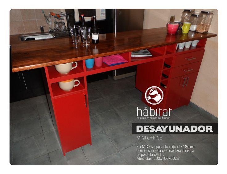 Desayunador en MDF laqueado rojo de 18mm, con encimera de madera masisa laqueada de 1' . Medidas: 200x100x60cm