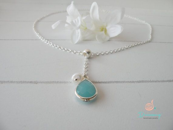 silver chain short necklace with mint crystal and pearl
