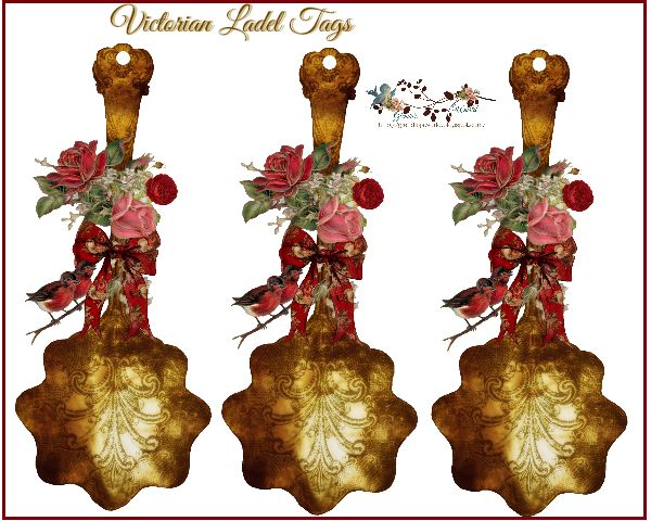 Victorian ladle Christmas tag (Free-download)