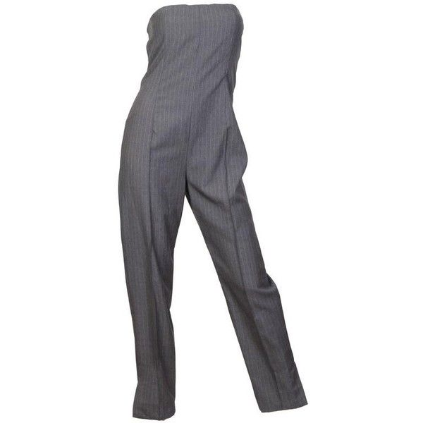 Preowned 1990s Givenchy Couture By Alexander Mcqueen Jumpsuit ($2,500) ❤ liked on Polyvore featuring jumpsuits, jumpsuit, grey, strapless jumpsuit, alexander mcqueen jumpsuit, alexander mcqueen, gray jumpsuits and grey jumpsuit