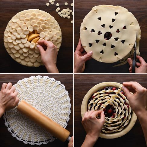"DirectionsFork ""Lattice"" CrustTo make this easy faux-lattice design, all you'll need is store-bought pie crust dough and a fork! Hold the fork vertically in yo"