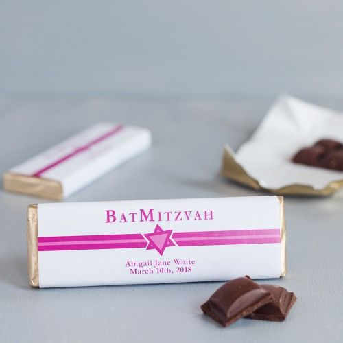 Personalized chocolate bar wrappers designed just for Bar Mitzvahs and Bat Mitzvahs make perfect favors and a wonderful way to thank all your guests for attending.  Personalized with the name of the young lady or gentleman and the date of the party. Choose from several designs including photo designs.