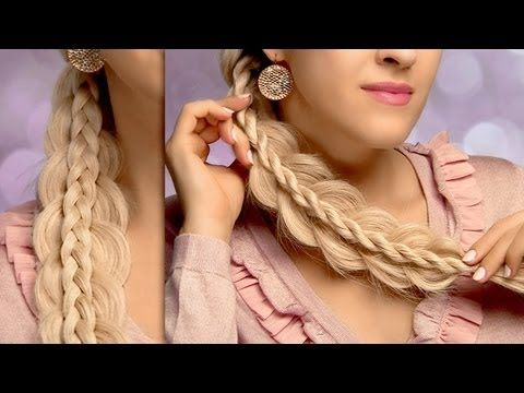 Cute and easy back to school hairstyles for long hair: stacked side swept braids tutorial - YouTube