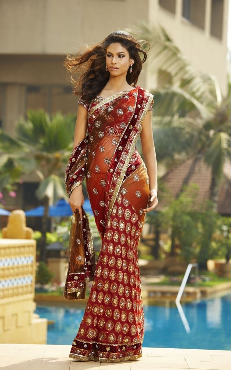 17 best images about burnt orange saree on pinterest for Sari inspired wedding dress