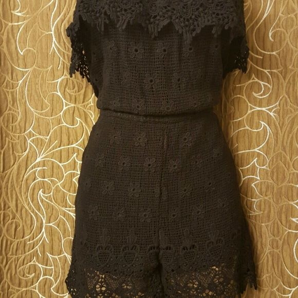 Navy strapless romper Strapless romper with crochet details Pants Jumpsuits & Rompers