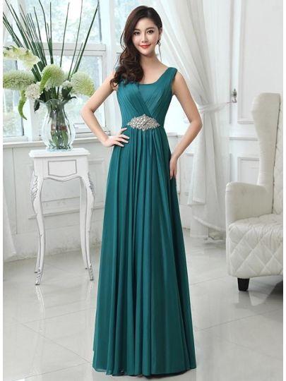 A-line Scoop Neck Crystal Floor-Length Evening Dress & elegant Evening Dresses