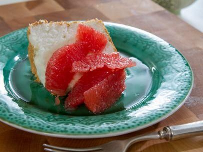 "Angel Food Cake with Grapefruit Compote (Trisha Goes to Boot Camp) - Trisha Yearwood, ""Trisha's Southern Kitchen"" on the Food Network."