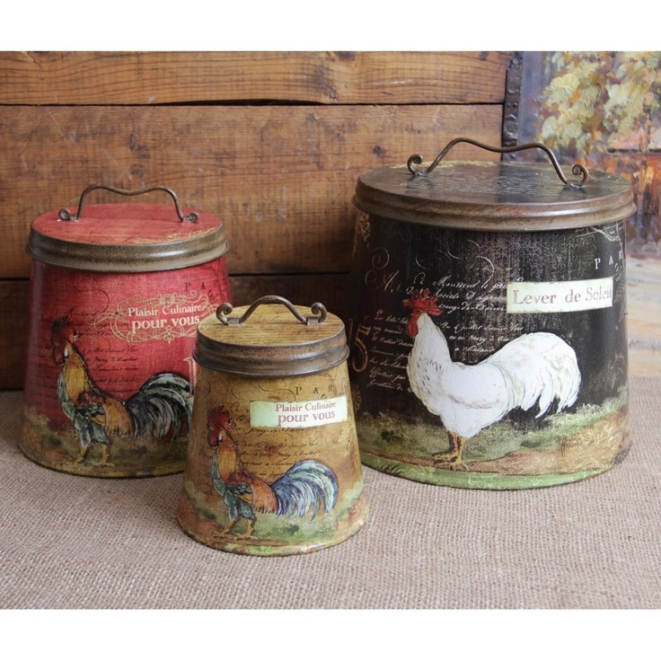 Chicken And Rooster Decor Part - 40: Amazon.com: Shabby Country Chic Rooster Tin Canister Set Home Decor: Home U0026