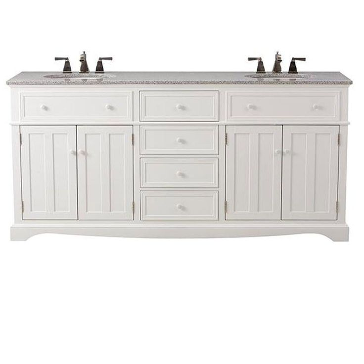 Home Decorators Collection Fremont 72 in. Double Vanity in White with Granite Vanity Top in Grey-2943900410 - The Home Depot