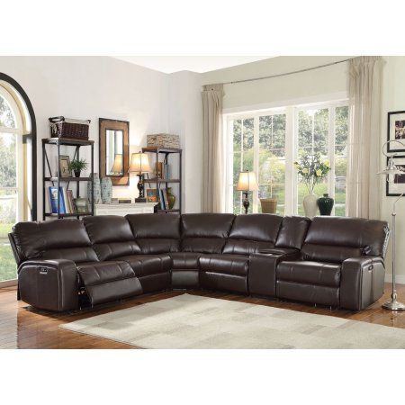 Acme Furniture Saul Power Reclining Sectional Sofa with USB Dock, Espresso Leather-Aire