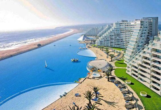 This, apparently, is the world's largest swimming pool. In San Alfonso Del Mar, Chile