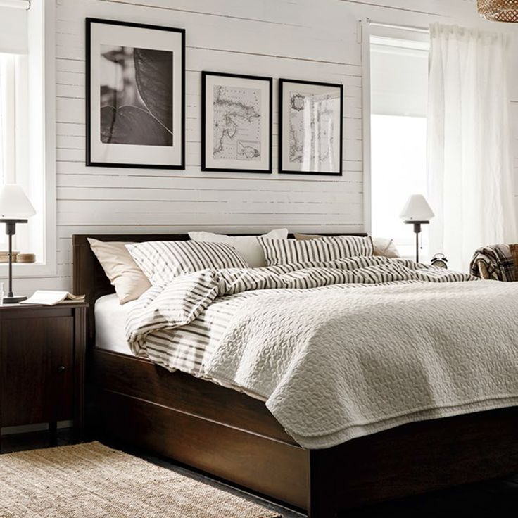 Master Bedroom Look BRUSALI queen bed frame with 4 storage drawers and nighstand