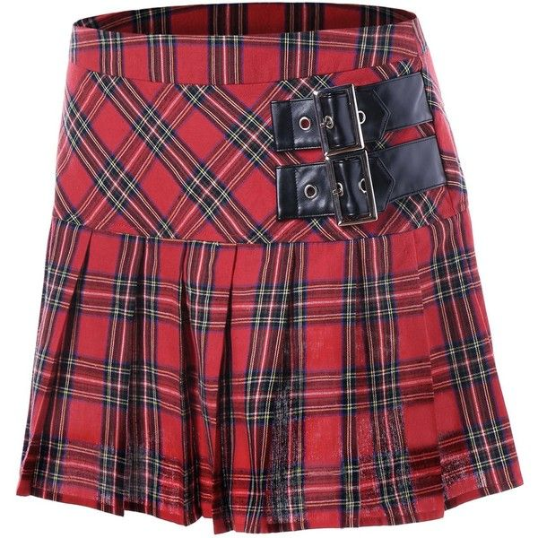 Red 2xl Buckles Plaid Pleated A-line Skirt ($12) ❤ liked on Polyvore featuring skirts, red tartan skirt, tartan a line skirt, knee length a line skirt, red plaid skirt and pleated skirt