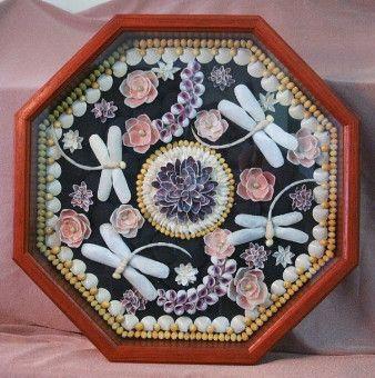 "Shell Mosaic - ""Four Dragonflies"" - 14"" Bloodwood Case"