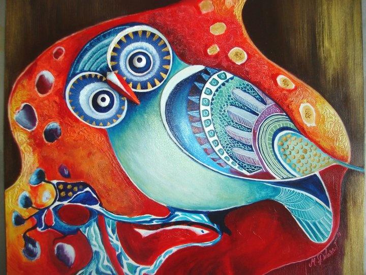 "oil painting by Mevce Dilara Toprak ""cavity owl ""  60x40 2011 (sold)"