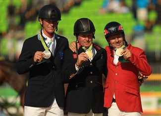Medal - Skelton, Nick, Fredricson, Peder, Lamaze, Eric - Equestrian - Great Britain, Sweden, Canada, Refugee Olympic Team - Jumping Individual - Jumping Individual Final Round B - Olympic Equestrian Centre