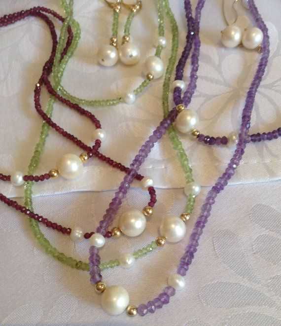 Micro facetted gemstone rope enhanced with by JoyasDuende on Etsy