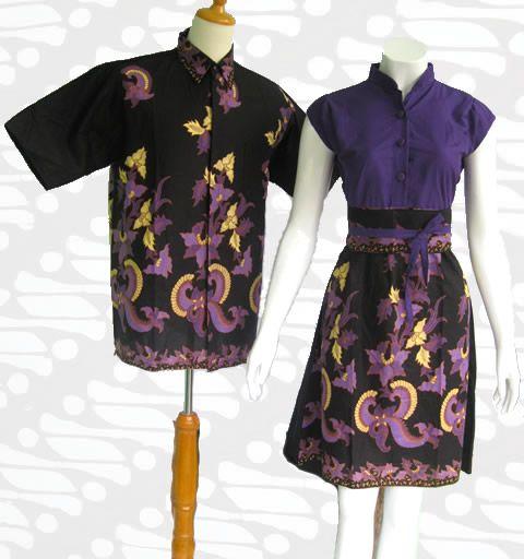 baju batik sarimbit couple modern terbaru hitam ungu