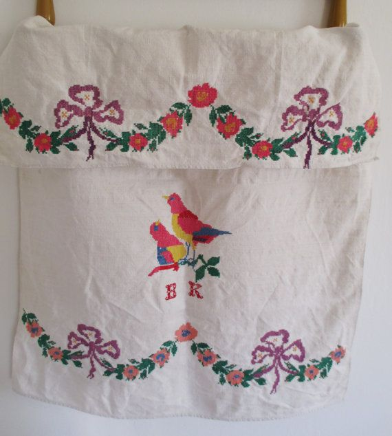 145. Vintage Homespun Flax Linen  Hand Embroided decor Towel