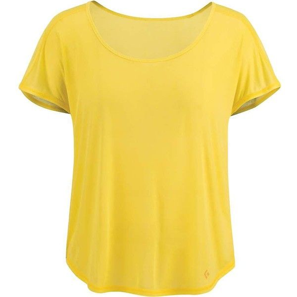 Black Diamond Women's Open Air Tee ($49) ❤ liked on Polyvore featuring tops, t-shirts, citrine, flat top, yellow top, yellow tee, yellow t shirt and black diamond t shirt