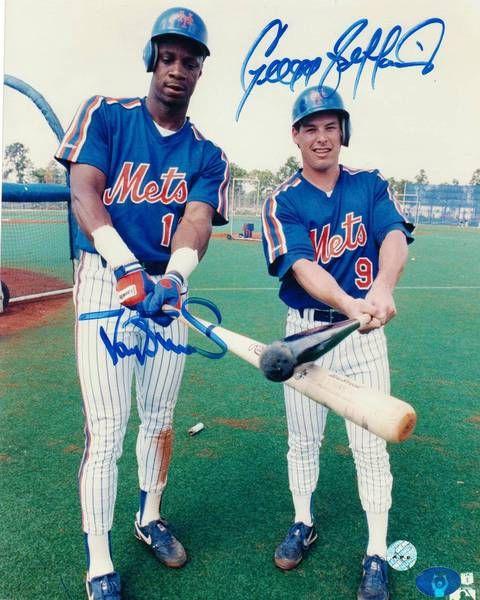 Darryl Strawberry & Gregg Jefferies New York Mets Autographed 8x10 Photo -Posing at Batting Practice-