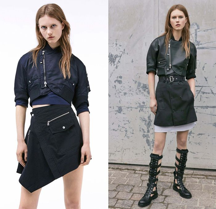 Diesel Black Gold 2017 Resort Cruise Pre-Spring Womens Lookbook Presentation Collection - Denim Jeans Multi-Panel Motorcycle Biker Leather Pinafore Top Dress Strapless Sheer Chiffon Stripes Lace Shirtdress Miniskirt Asymmetrical Hem Mesh Cutout Open Shoulders Gladiator Sandals Cargo Pockets Bomber Jacket Zipper Noodle Spaghetti Strap