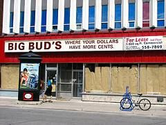 BIG BUD'S was a fixture on Bank Street for many years. Great bargains, great prices.