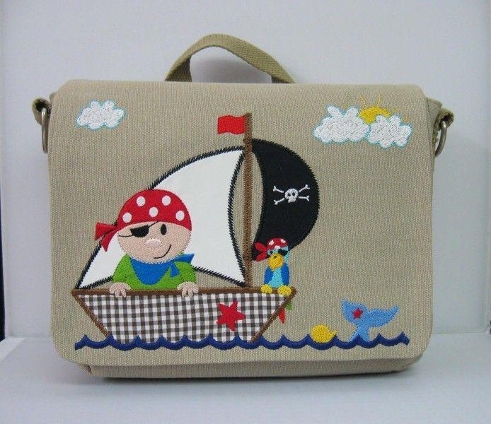 Kindergartentaschen - Rucksack ♦ Pirat - ein Designerstück von Jinis-Lederpuschen bei DaWanda