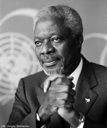 "Kofi Annan, 7th Secretary-General of the United Nations. Awarded the Nobel Prize for Peace jointly with the United Nations ""for their work for a better organized and more peaceful world."""