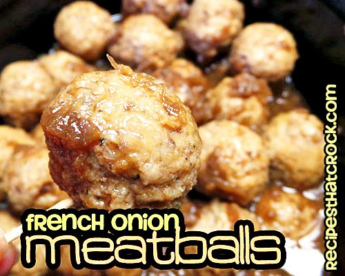 French Onion Meatballs: Very easy two-ingredient appetizer. #CrockPot #SlowCooker
