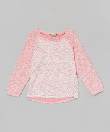 Look at this #zulilyfind! Pink & Ivory Slub Lace Tee by Speechless #zulilyfinds