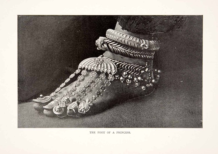 1901 Print Indian Princess Foot Jewelry Paijeb Rajkumari Anklet Toe Rings Lache | eBay