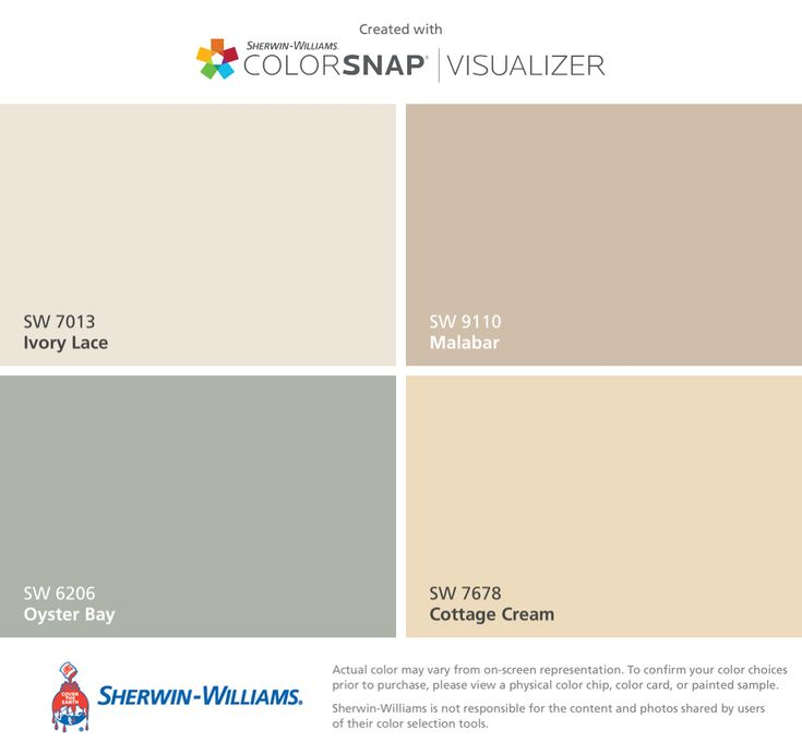 I found these colors with ColorSnap® Visualizer for iPhone by Sherwin-Williams: Ivory Lace (SW 7013), Oyster Bay (SW 6206), Malabar (SW 9110), Cottage Cream (SW 7678).
