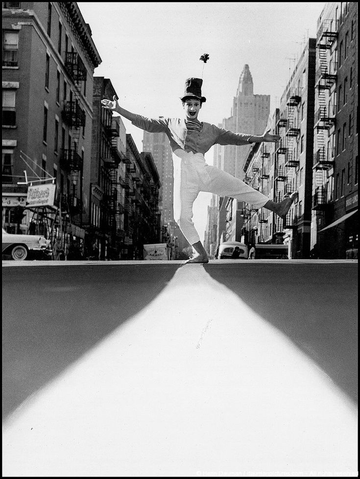 NYC. The great mime Marcel Marceau, 1958 // by Henri Dauman
