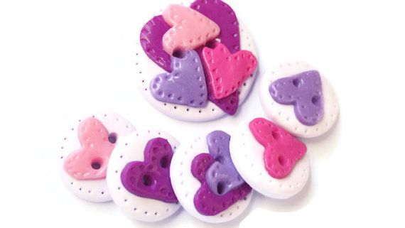 Hearts buttons violet color multicolor polymer от LittleHappyBoom
