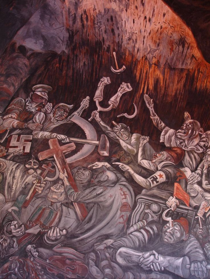 Jose Clemente Orozco, The Clowns of War Arguing in Hell (1944)